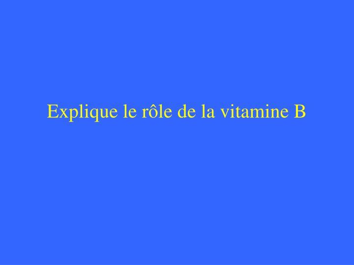 Explique le rôle de la vitamine B