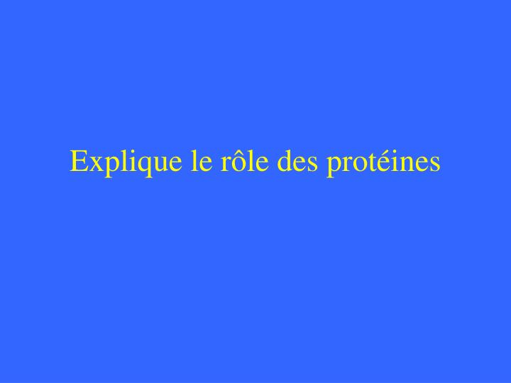 Explique le rôle des protéines