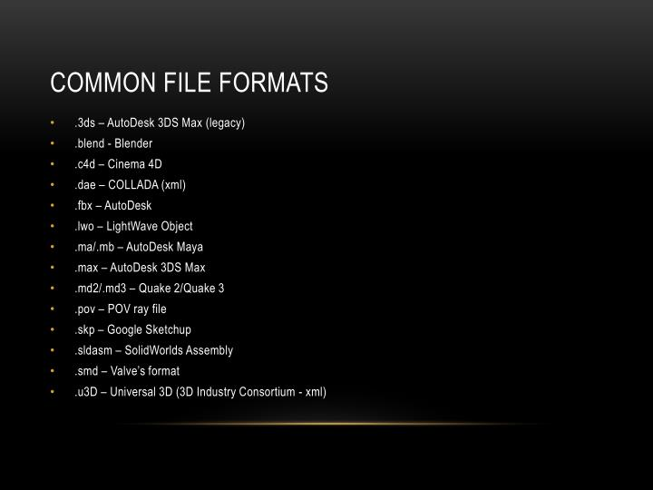 Common File Formats