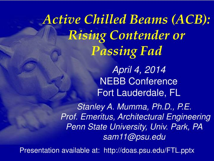 Active Chilled Beams (ACB):