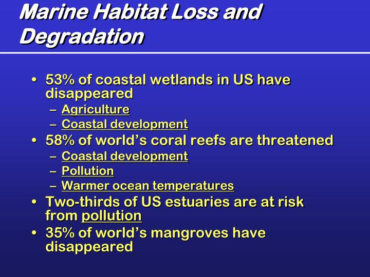 Marine Habitat Loss and Degradation