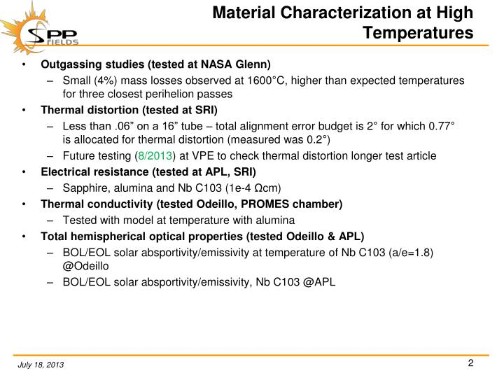 Material characterization at high temperatures