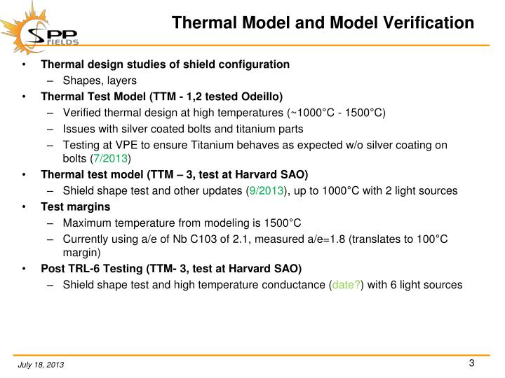 Thermal model and model verification