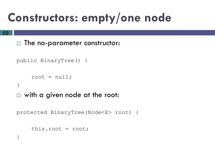 Constructors: empty/one node