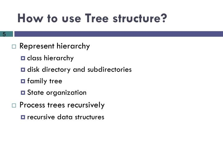 How to use Tree structure?