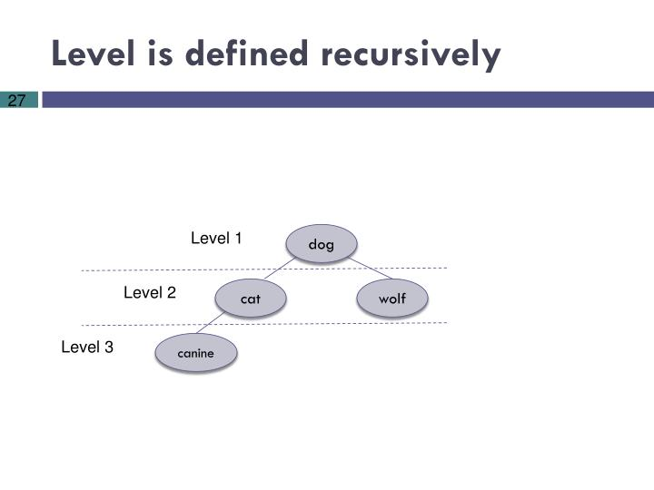 Level is defined recursively