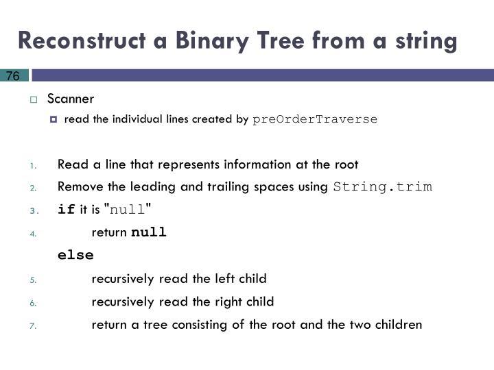 Reconstruct a Binary Tree