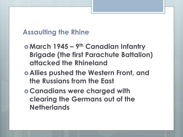 Assaulting the rhine
