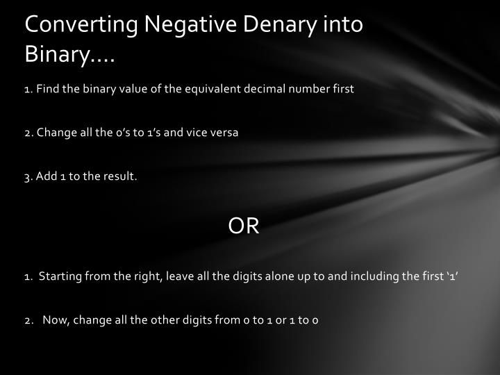 Converting Negative Denary into Binary….