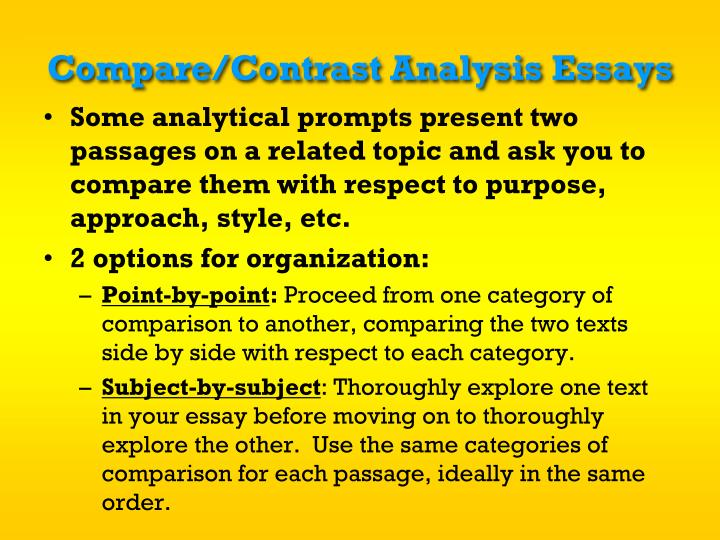 Compare/Contrast Analysis Essays