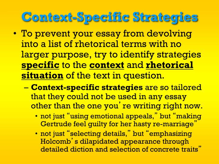 Context-Specific Strategies