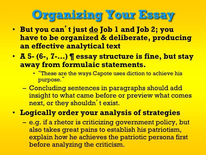 Organizing Your Essay