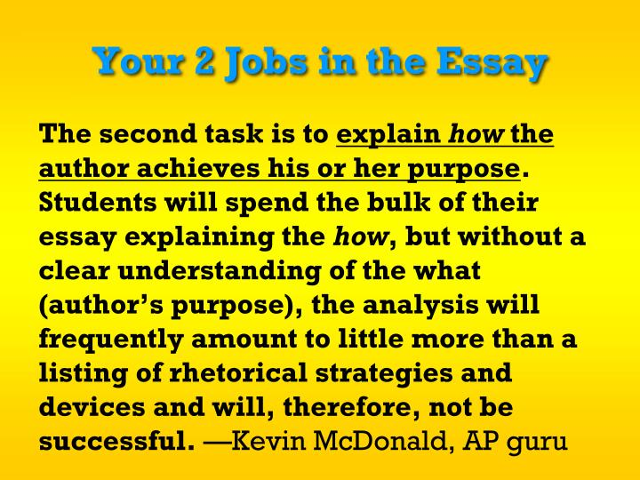 Your 2 Jobs in the Essay