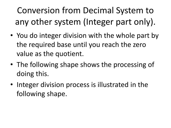 Conversion from Decimal System to any other system (Integer part only).