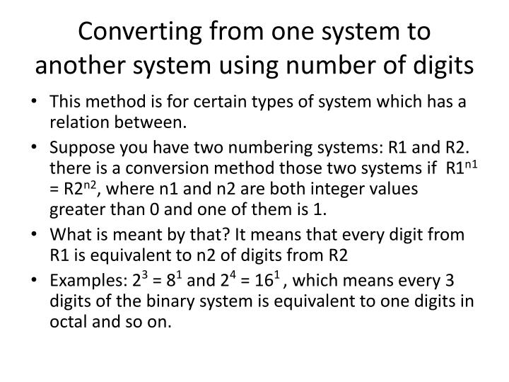 Converting from one system to another system using number of digits