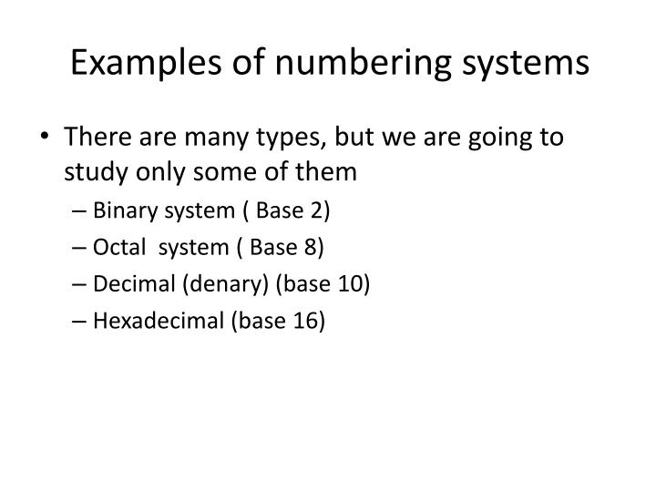 Examples of numbering systems