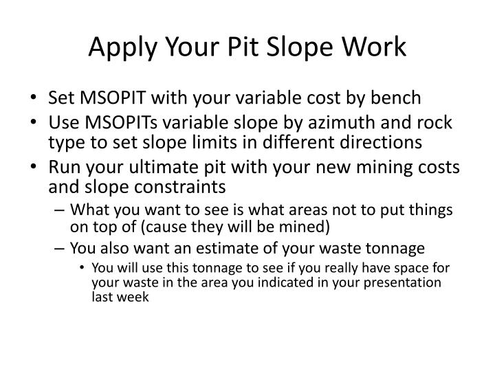 Apply Your Pit Slope Work
