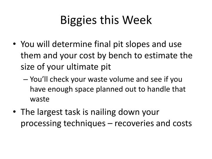 Biggies this Week