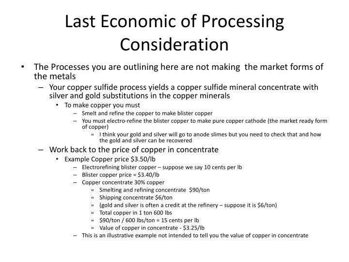 Last Economic of Processing Consideration