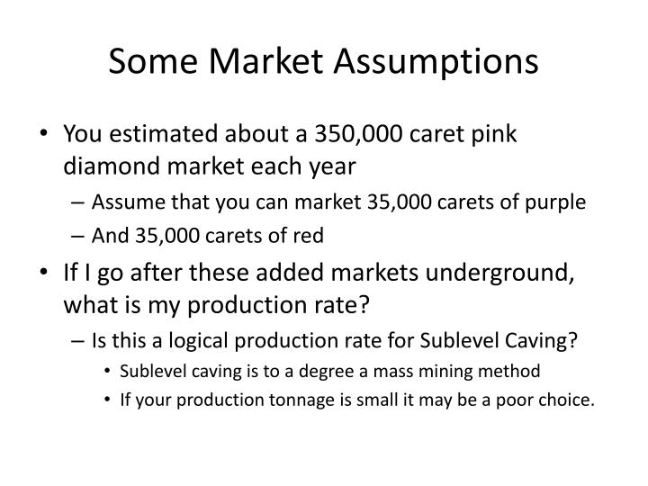 Some Market Assumptions