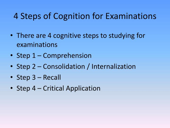 4 steps of cognition for examinations