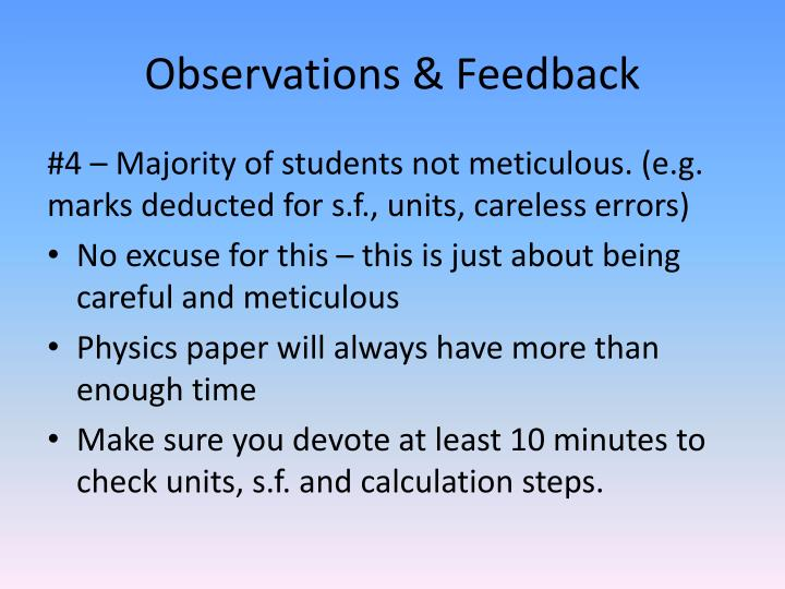 Observations & Feedback