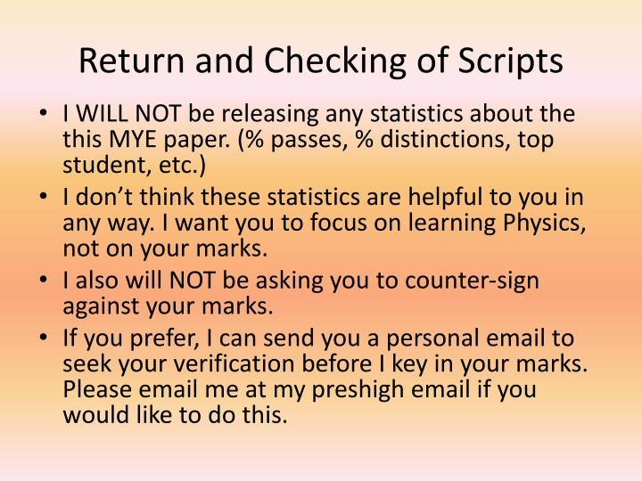 Return and Checking of Scripts