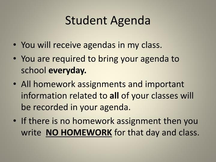 Student Agenda
