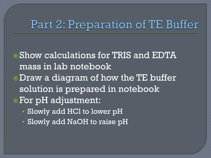 Part 2: Preparation of TE Buffer
