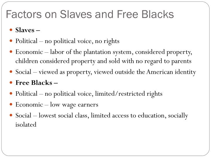 Factors on Slaves and Free Blacks