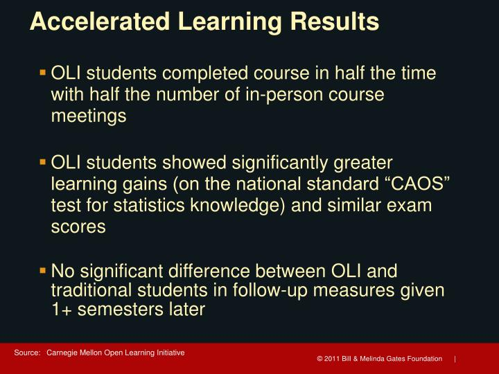 Accelerated Learning Results