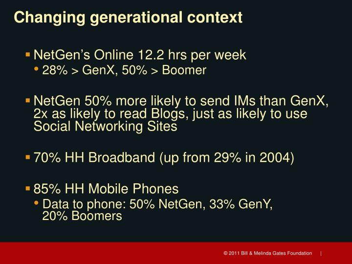 Changing generational context