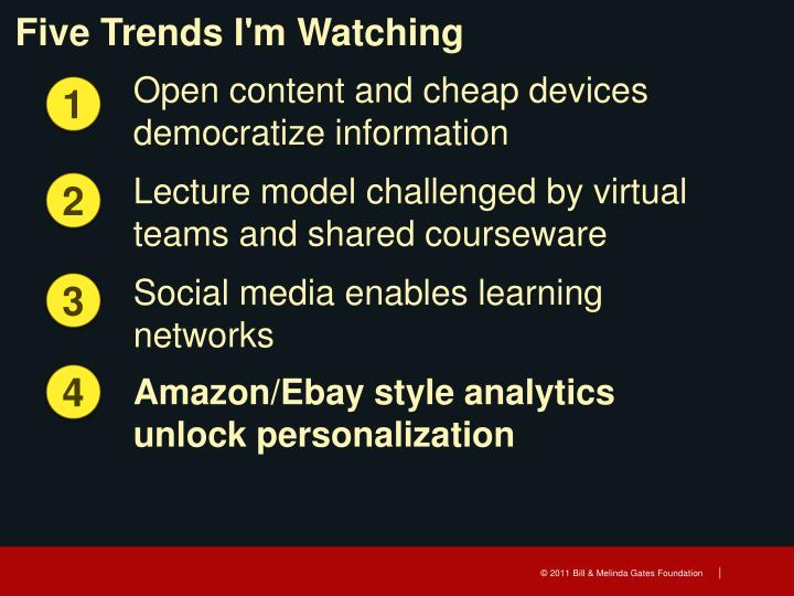 Five Trends I'm Watching