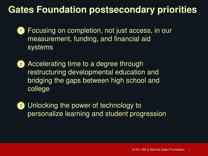 Gates Foundation postsecondary priorities