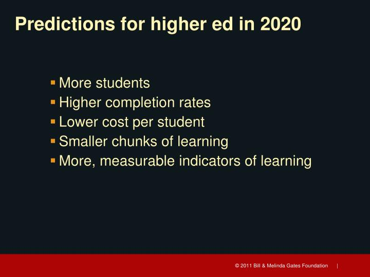 Predictions for highe