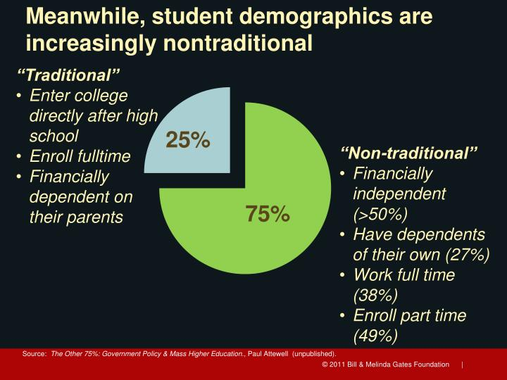 Meanwhile, student demographics are increasingly nontraditional