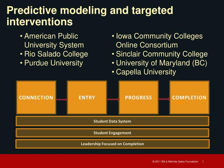 Predictive modeling and targeted interventions