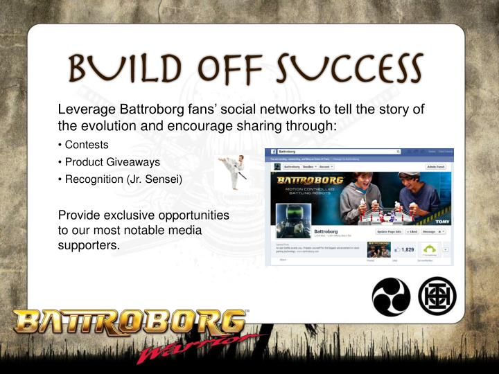 Leverage Battroborg fans' social networks to tell the story of the evolution and encourage sharing through: