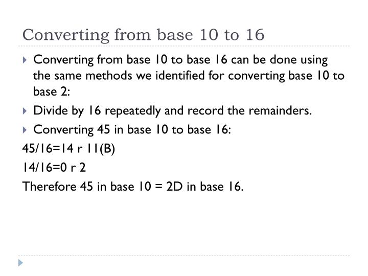Converting from base 10 to 16