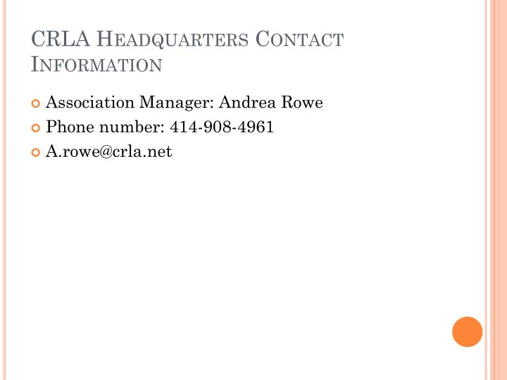 CRLA Headquarters Contact Information