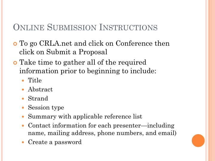 Online Submission Instructions