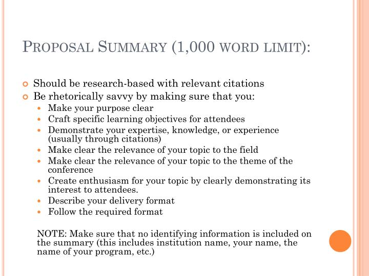 Proposal Summary (1,000 word limit):