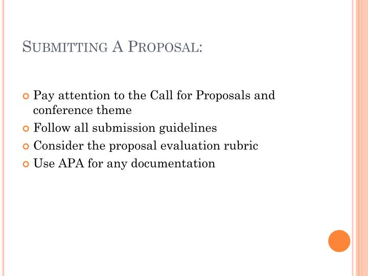Submitting A Proposal: