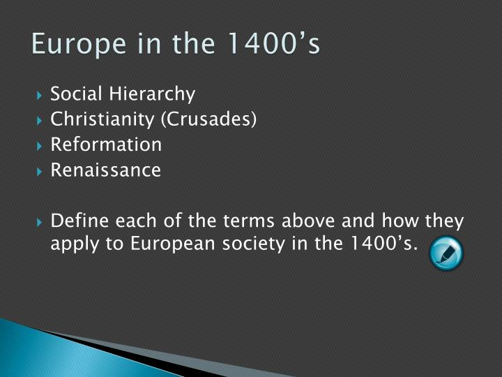 Europe in the 1400's