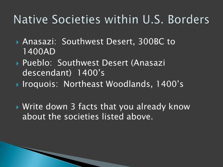 Native Societies within U.S. Borders