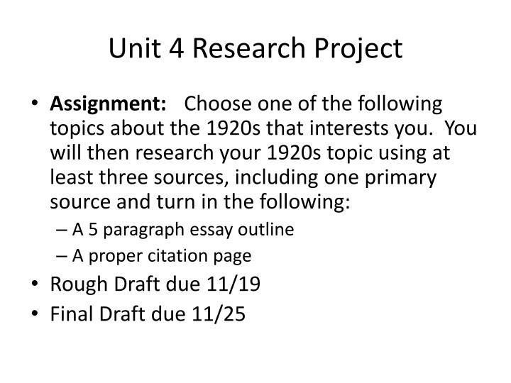 Unit 4 Research Project