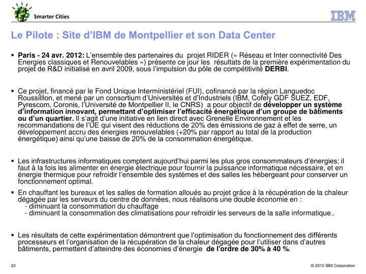 Le Pilote : Site d'IBM de Montpellier et son Data Center