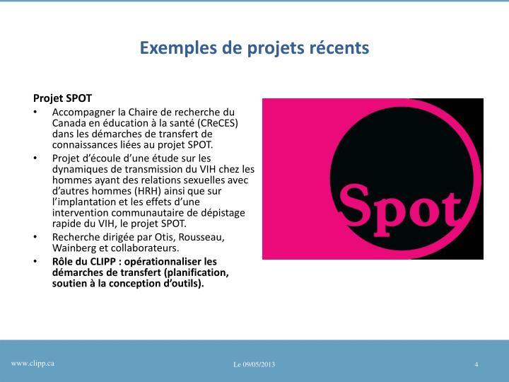 Exemples de projets récents