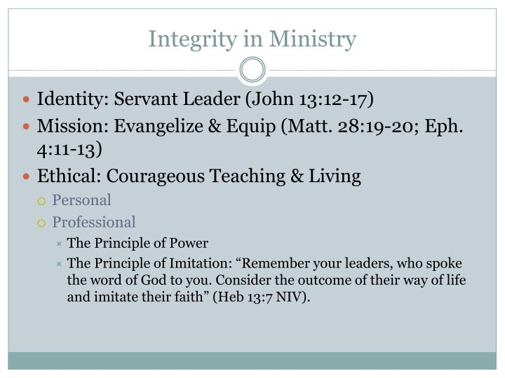 Integrity in Ministry