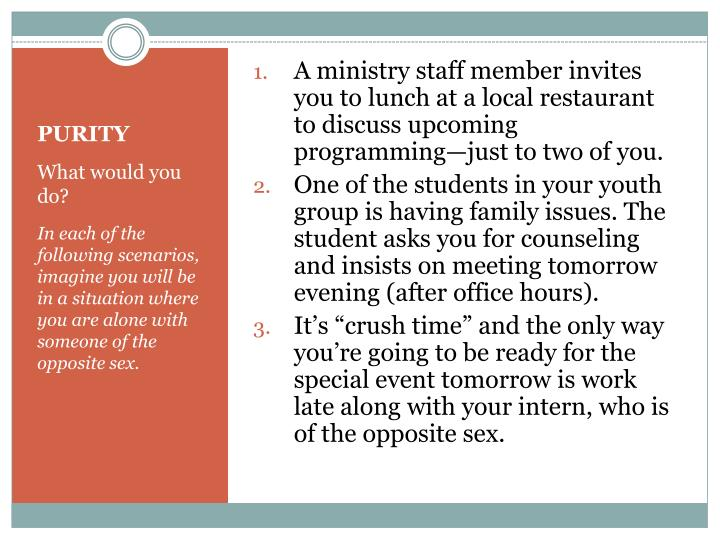 A ministry staff member invites you to lunch at a local restaurant to discuss upcoming programming—just to two of you.